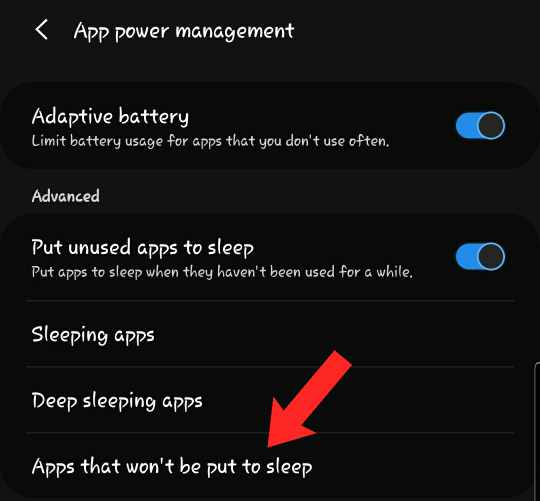 apps that won't be put to sleep