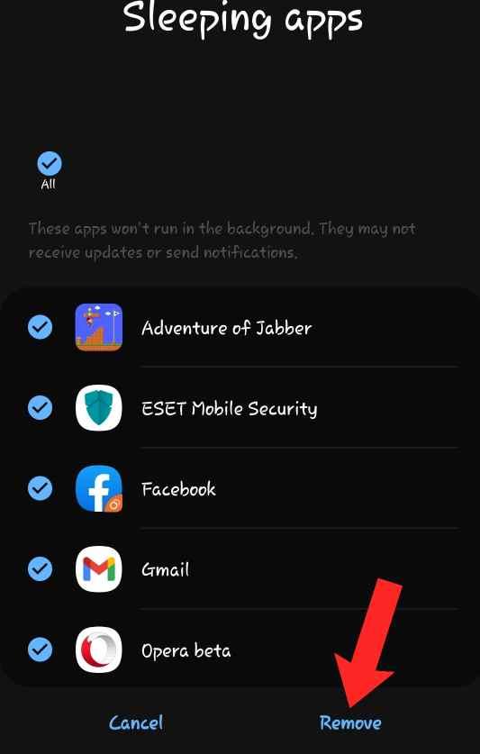 how to unsleep an app
