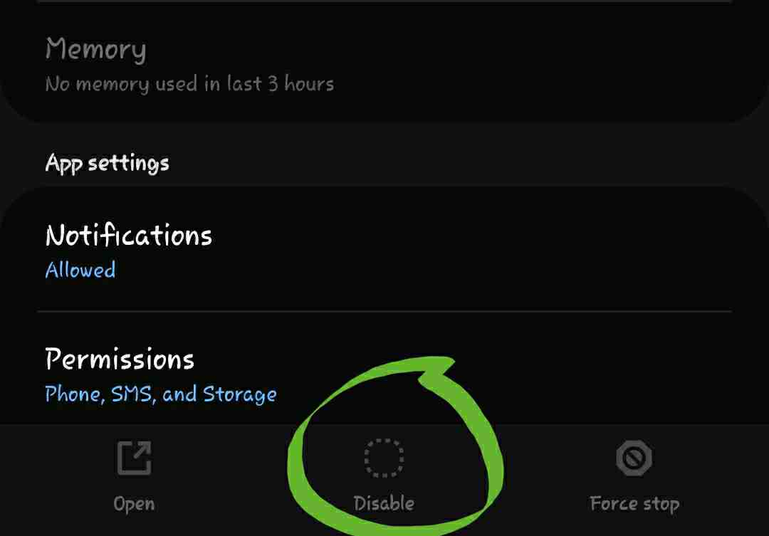 difference between force stop and disable