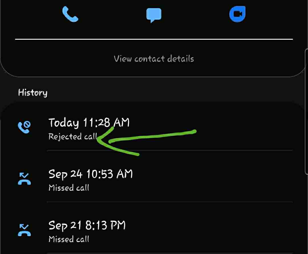 What does rejected call mean on Samsung