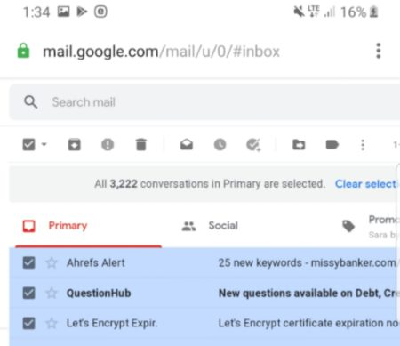Delete gmail emails at once
